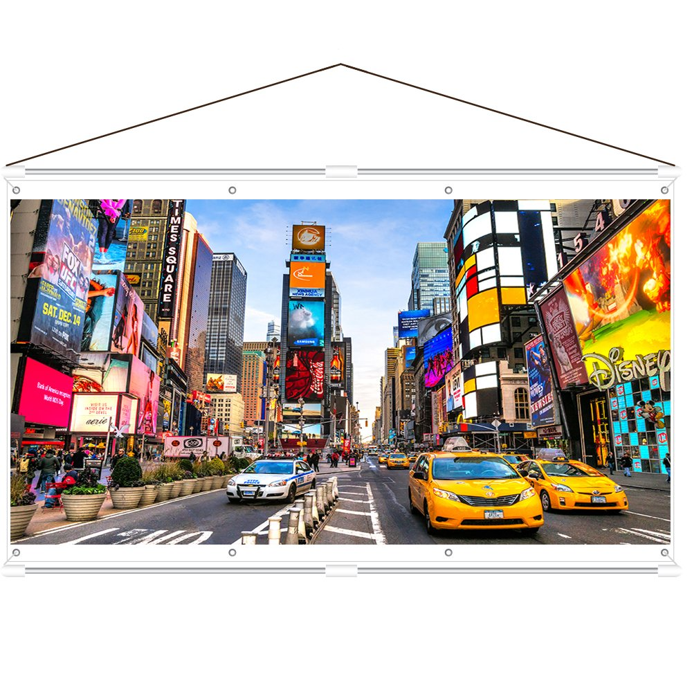 JaeilPLM Indoor, Outdoor 80 Inch 16:9 Projector Screen. Instant Wrinkle-Free Triangle Hanging Design. 4-Hook Tension Technology. for Home Theater, Gaming, Office, and Movie Projection. 4K Compatible.