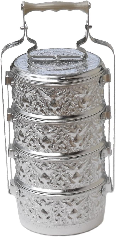 Aluminum 4 Tier Tiffin Food Carrier Box/Thai Rice Bowl Buddhist Style