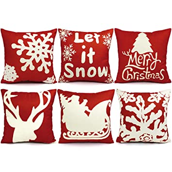 ustyles 6pcs christmas pillow covers 18 x 18 christmas decorations pillows covers christmas decorative throw pillows