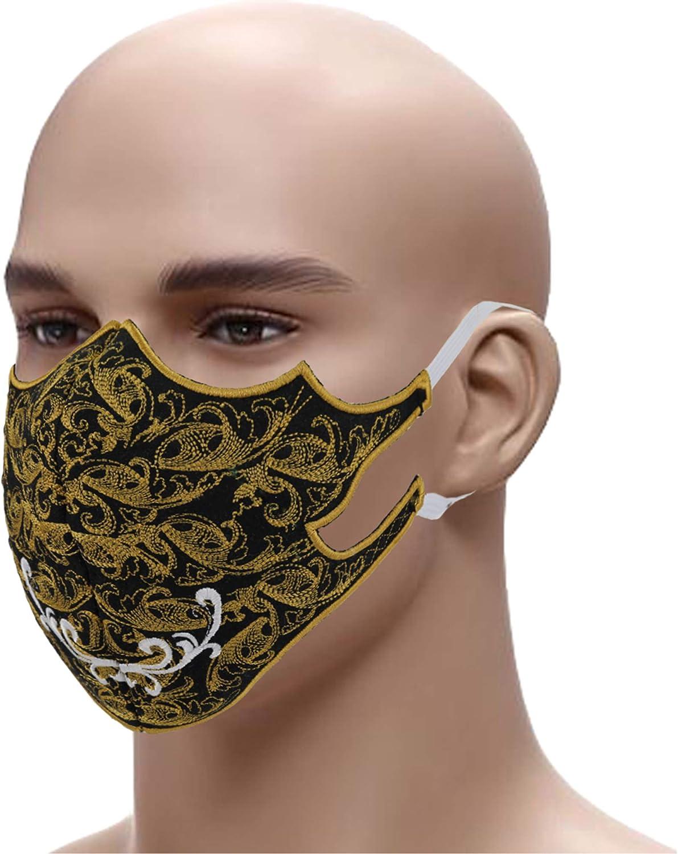 Deinaty Stickerei Design Baumwolle Mund und Nasenschutz Schwarz Atmungsaktiv Waschbar und Wiederverwendbar Sommer Schutz Haushalt Outdoor Essentials f/ür Nacharbeiten