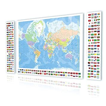 Amazon alonline art political modern world map flags world map alonline art political modern world map flags world map print on canvas 100 cotton gumiabroncs Images