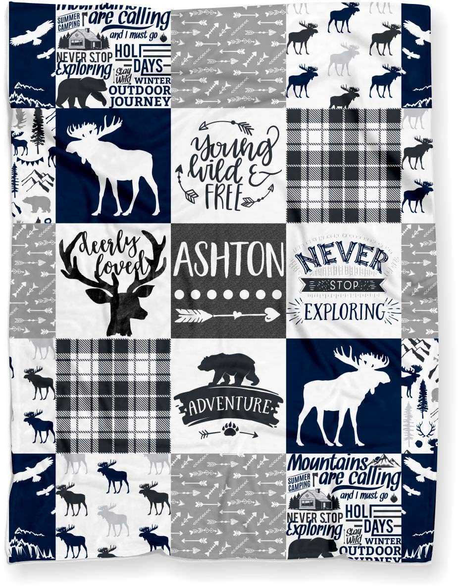 Puddle Kickers Personalized Moose Minky Baby Blanket Woodland Boho for Boy (Soft Polyester Fleece - 30'' x 40'' - Navy Blue, Black and Gray) by Puddle Kickers