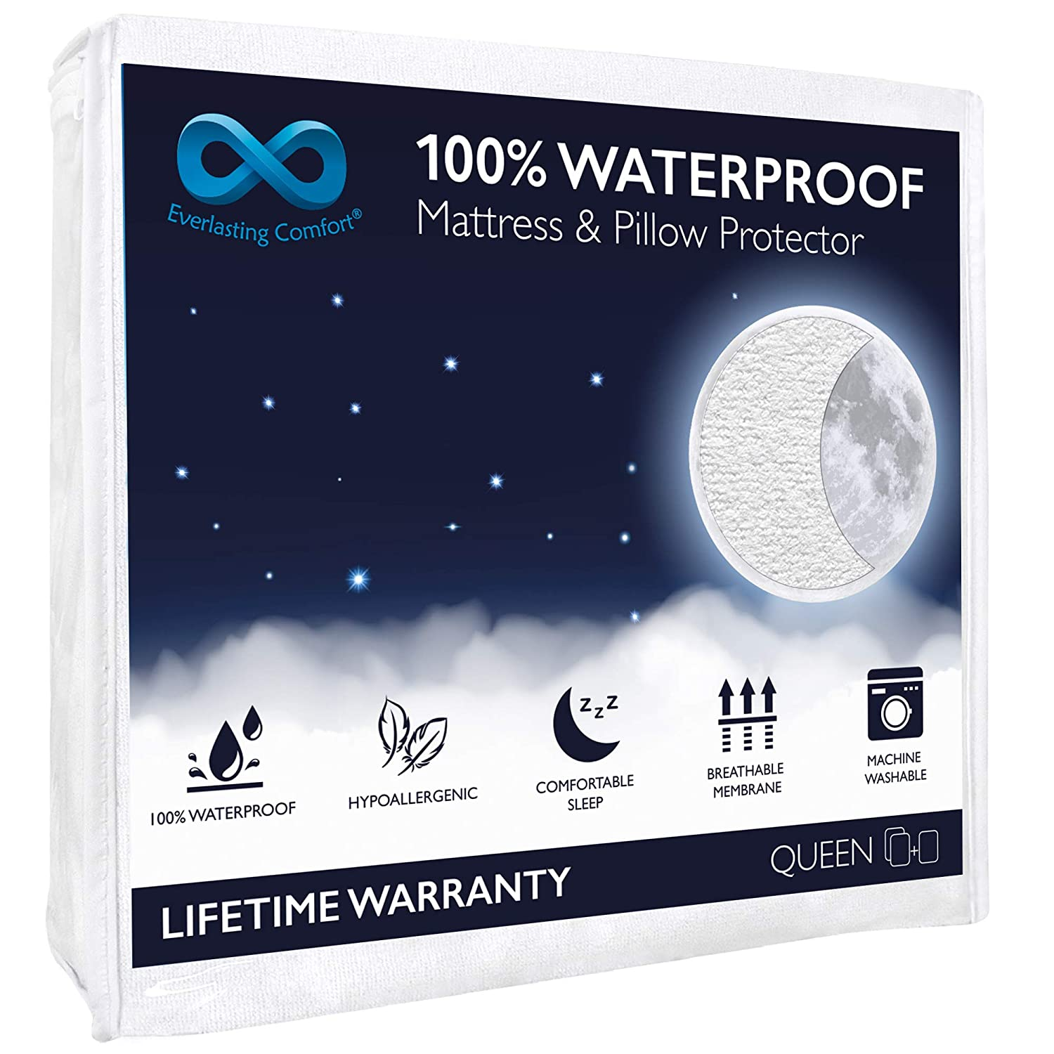 100% Waterproof Mattress Protector (Queen) and 2 Free Pillow Protectors