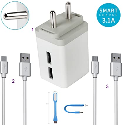 Felicity 3  1 Ampere High Speed Dual Port Fast Charger Adapter with 2 USB  Cable and Led Light Compatible for Oppo F1 Plus