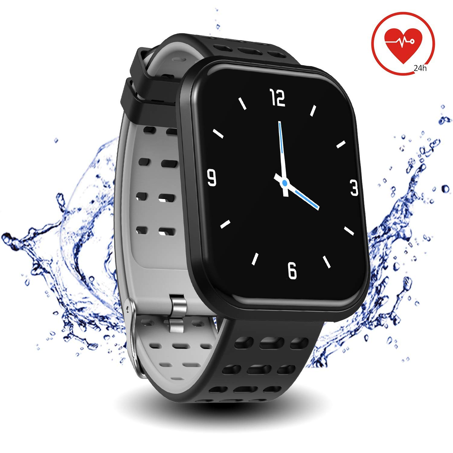 Surpro Smart Watch Heart Rate Monitor, 1.3'' Bright Color Screen Waterproof Pedometer Wrist Watch, Bluetooth Running GPS Fitness Tracker Watch for Android & iOS Phones, Grey