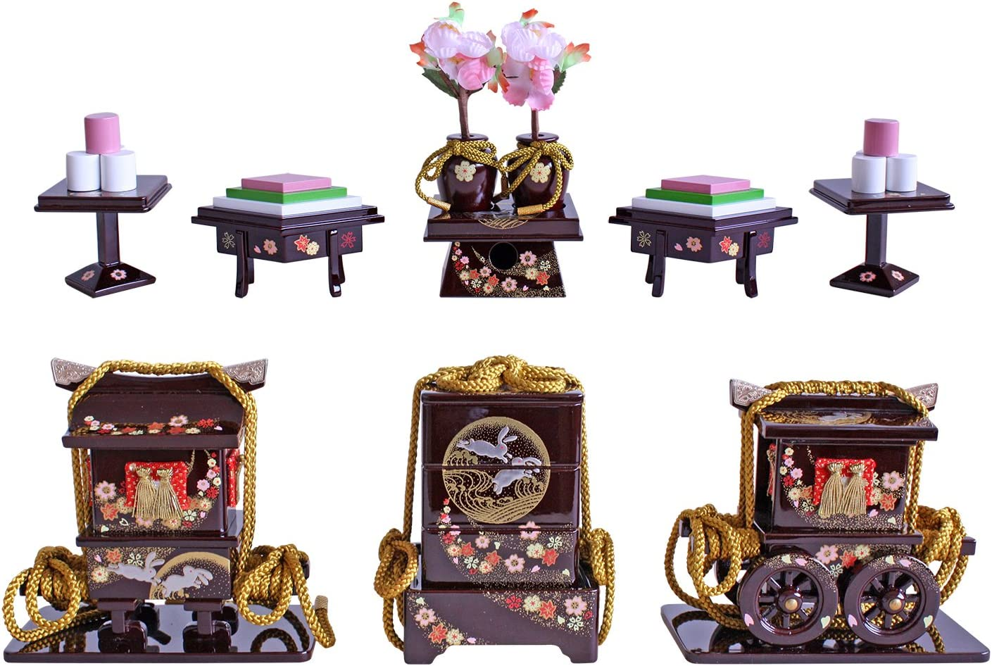 ひな人形用道具 ワインに月兎 六点セット 20号 206X-TU/WR
