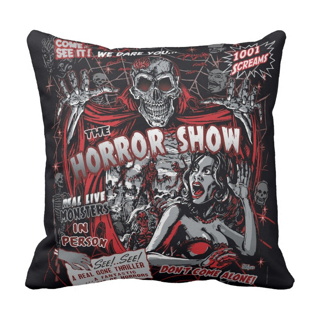 Zazzle Horror Movie Monsters Spook Show Throw Pillow 16'' x 16''