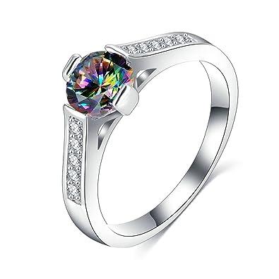 0aab4aa7e37a Coniea Anillos Chapado En Plata Anillo Compromiso Mujer Diamante Circón  Color Plata Corte Anillo  Amazon.es  Joyería