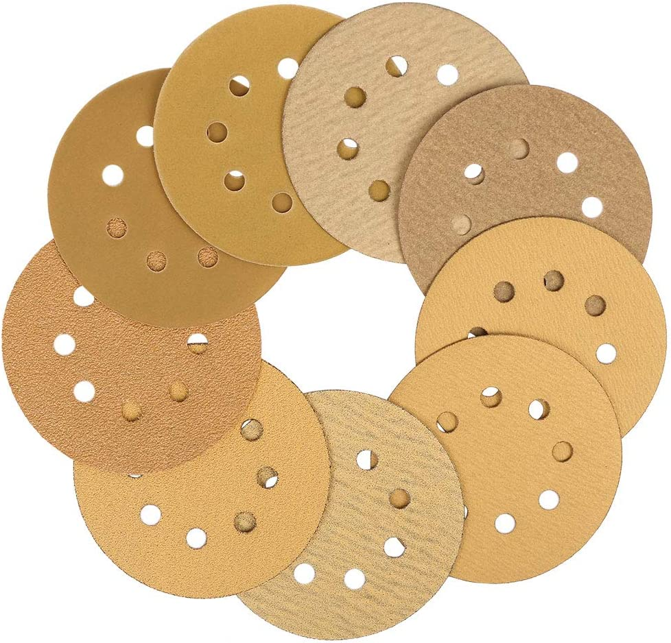 uxcell 180 Pcs 5 Inch 8 Hole Hook and Loop Sanding Discs 40 60 80 120 150 180 220 320 400 Assorted Grits Round Sandpaper