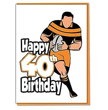 Carte Danniversaire 40 Ans Motif Silhouette De Rugbyman Pour