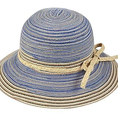 Women Floppy Beach Straw Sun Hat Wide Brim Packable Cap Rainbow Stripe Outdoor