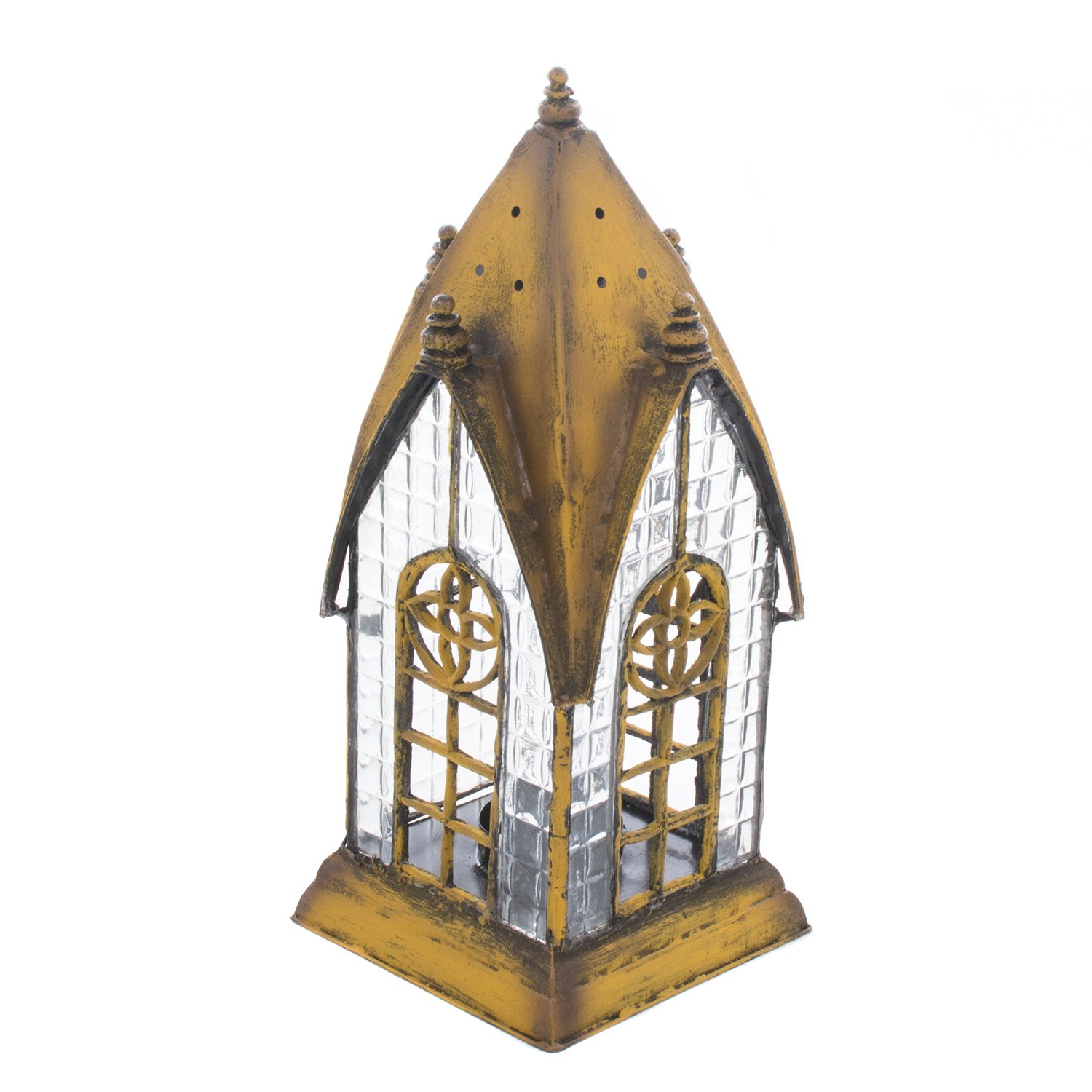 English Pembroke Yellow Architectural Lantern Tea Light Candle Holder - ChristmasTablescapeDecor.com
