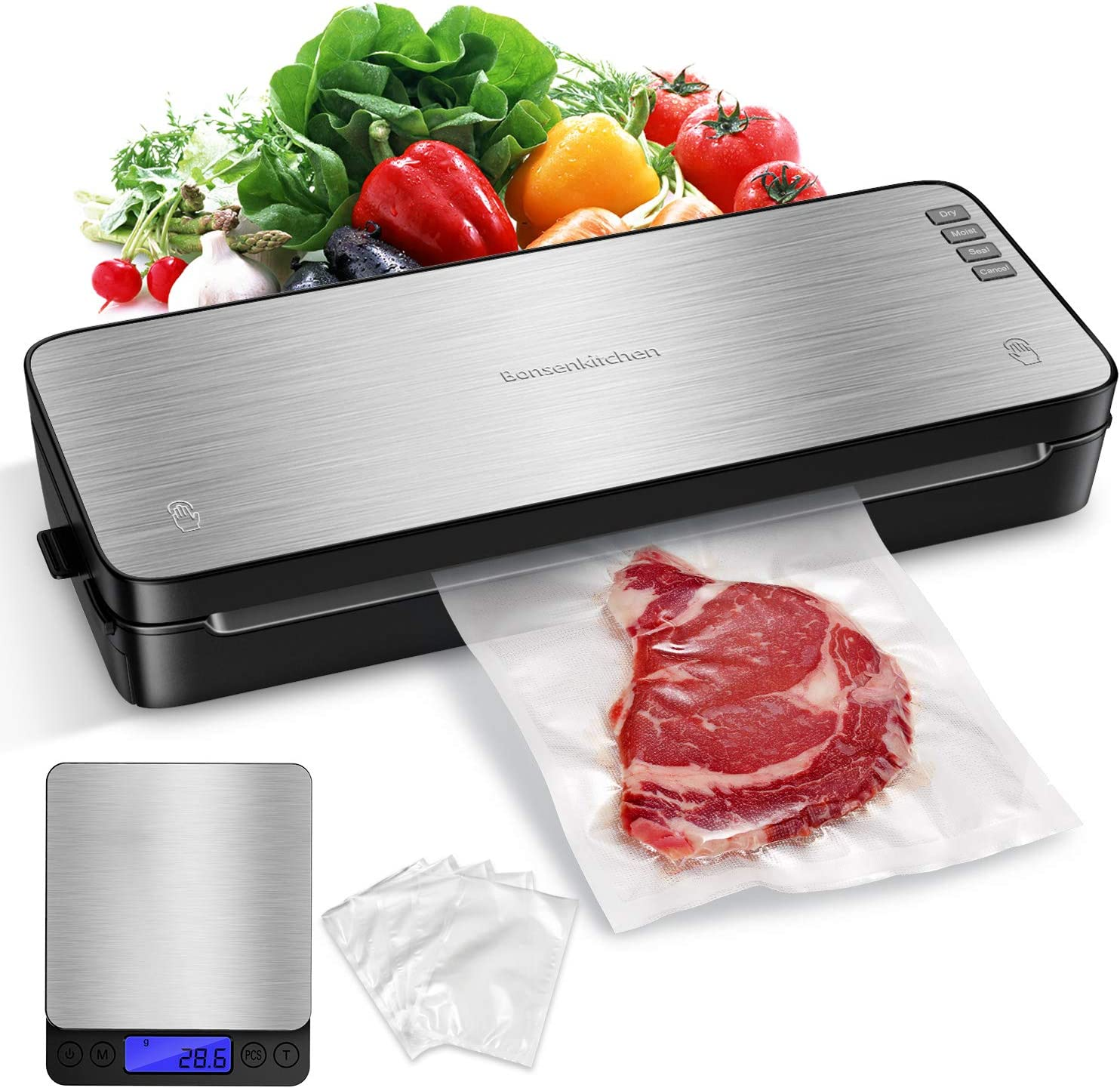 Food Saver Vacuum Sealer Machine For Food With Kitchen Digital Scale, Automatic Vaccume Sealer Machine Built in Air Sealing System with Kits, Avoid Dehydration n Freezer Burn For Sous Vide