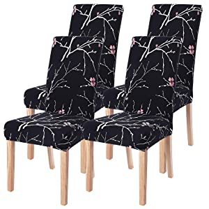 SearchI Dining Room Chair Covers Slipcovers Set of 4, Spandex Fabric Fit Stretch Removable Washable Short Parsons Kitchen Chair Covers Protector for Dining Room, Hotel (Black+Flower, 4 per Set)