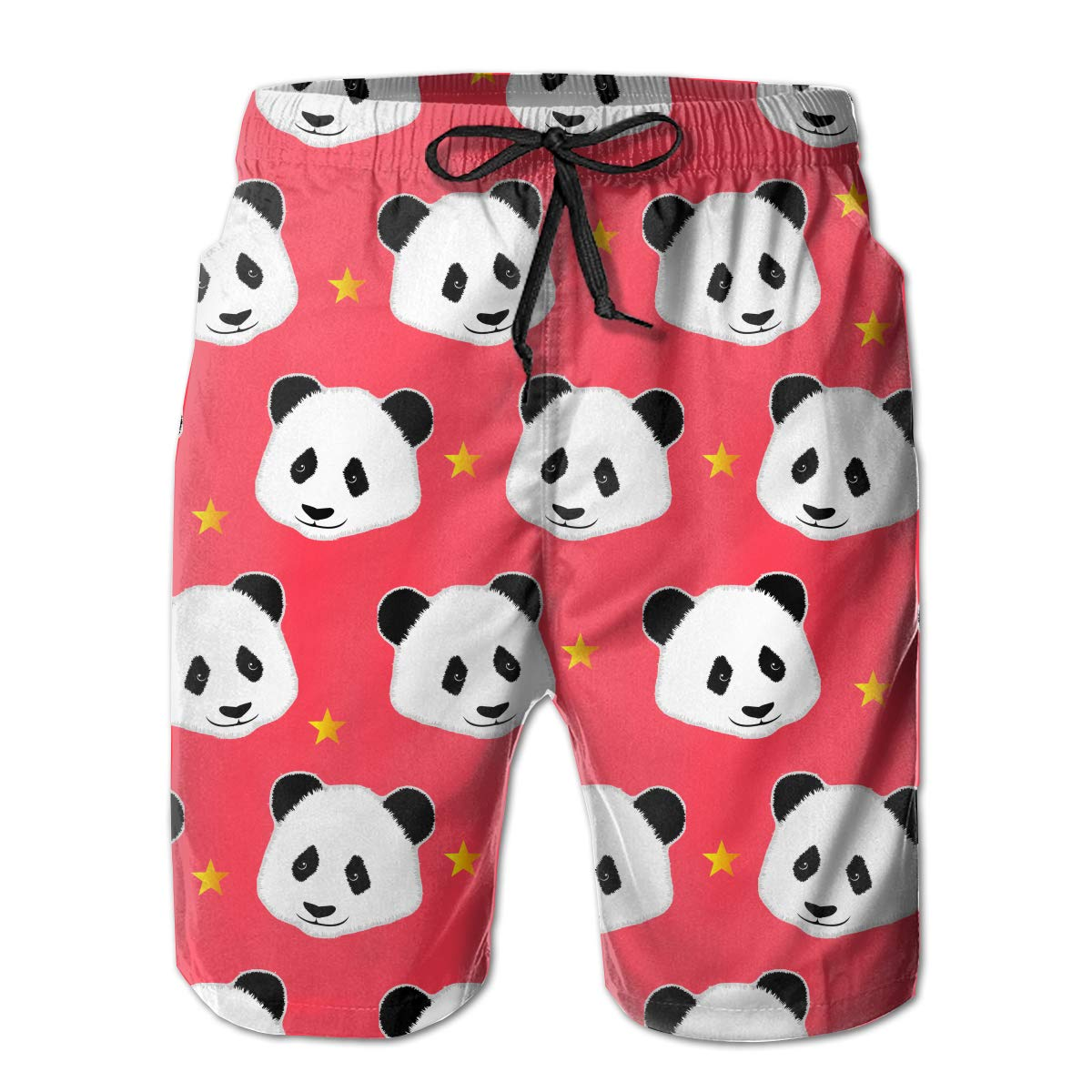 Mikonsu Red Panda Head Mens Swim Trunks Quick Dry Bathing Suits Beach Holiday Party Board Shorts