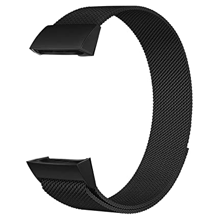 POY Metal Replacement Bands Compatible for Fitbit Charge 3 and Charge 3 SE  Fitness Activity Tracker, Stainless Steel Bracelet Strap for Women Men,