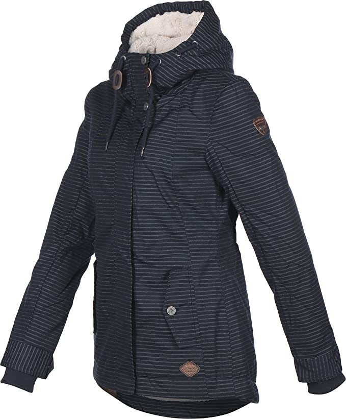 Ragwear Winterjacke Monade Stripes Navy VEGAN