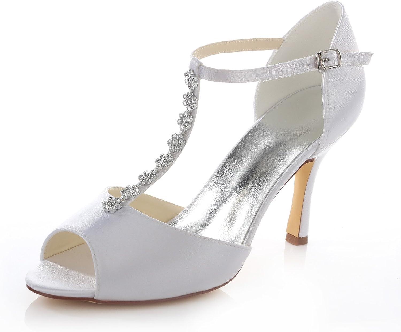 Emily Bridal Womens Silk Like Satin Stiletto Heel Peep Toe Sandals with Bowknot Crystal