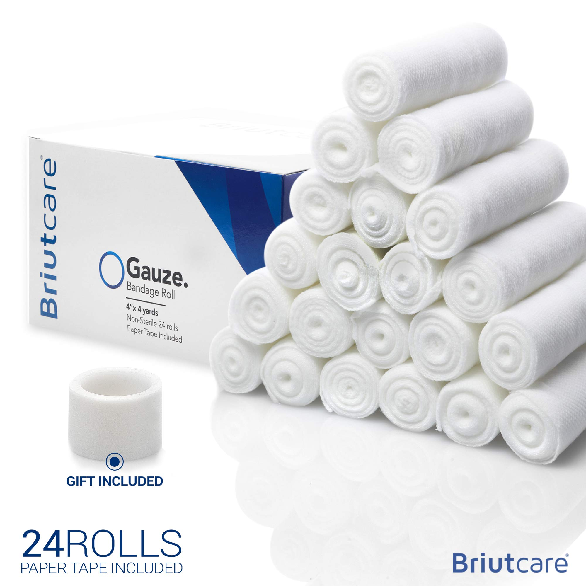 Briutcare Gauze Rolls (24 Pcs) | FDA Approved First Aid Wrap Wrap | 4x4 Yards Medical Bandage Wrap | Ideal for First Aid kit and Wound Care Supplies | Includes 24 Gauze Bandages and Medical Paper Tape by BriutCare