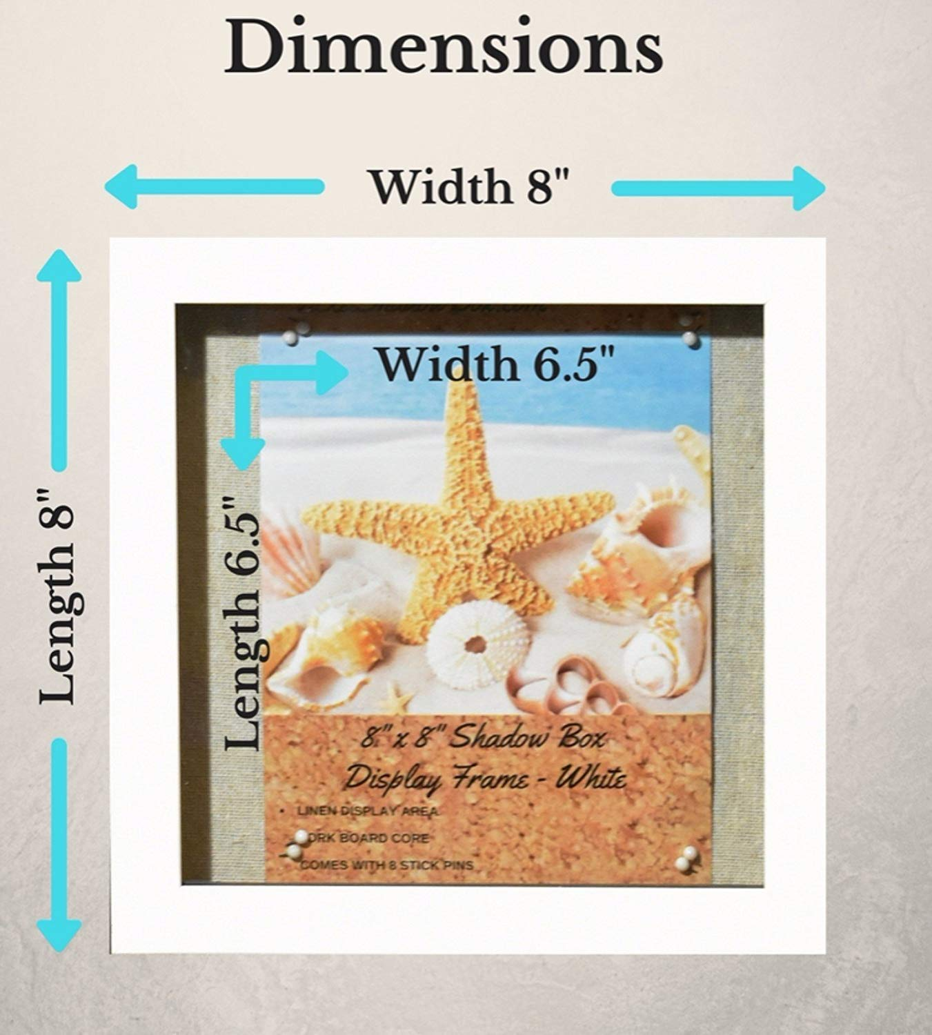 """8x8"""" White Display Shadow Box Frame (2-pack) with Linen Background - Ready To Hang Shadowbox Picture Frame - Easy to Use - Box Display, Baby and Sports Memorabilia, Uniforms, Medals, Pins, Wedding. Tasse Verre"""