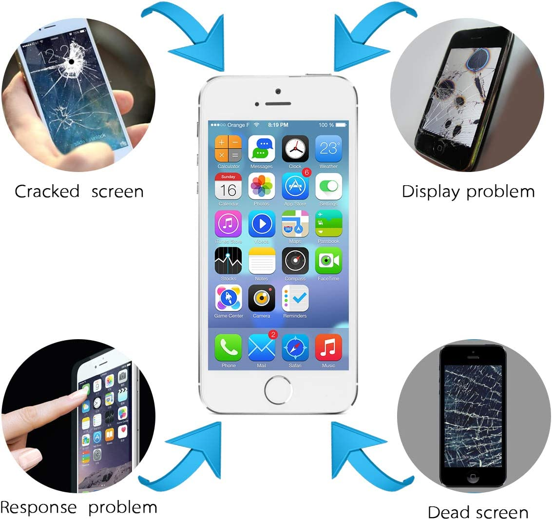 Mobkitfp Compatible with iPhone 5SE Screen Replacement Digitizer LCD Touch Screen Display Full Assembly with Repair Tools for iPhone SE Screen Replacement with Camera Black for A1662,A1723,A1724