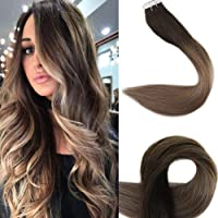Full Shine 14 Pulgada 20 Piezas 50 Gramo Marron Oscuro #2 Darkest Brown Fading to #6 and #18 Ceniza Marrón Highlighted Tape in Ombre Human Hair Extensiones Adhesivas Naturales Glue in Hair