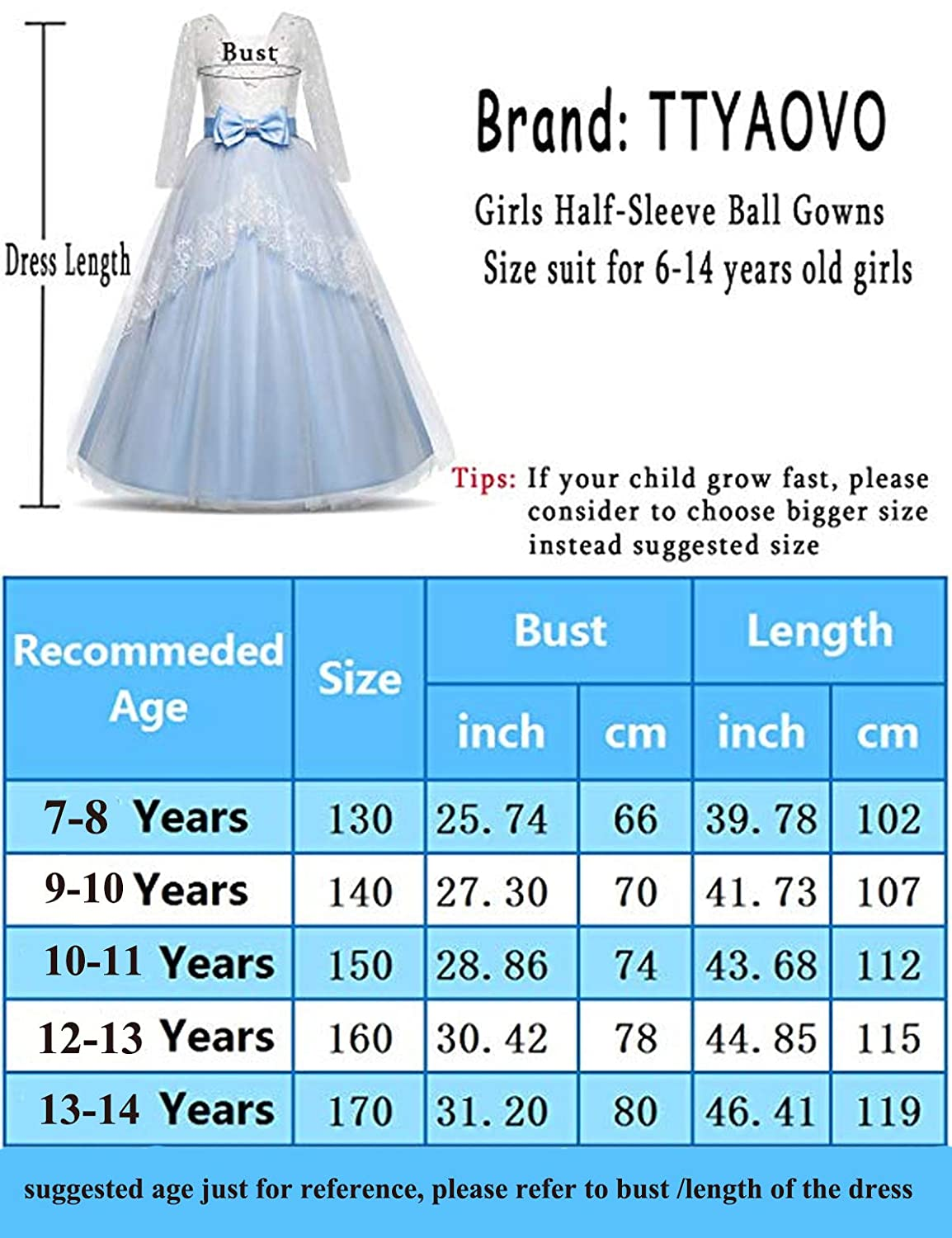 096cb0d81 Amazon.com: TTYAOVO Girls Lace Backless Ball Gowns Chiffon Flower Princess  Pageant Party Dress: Clothing