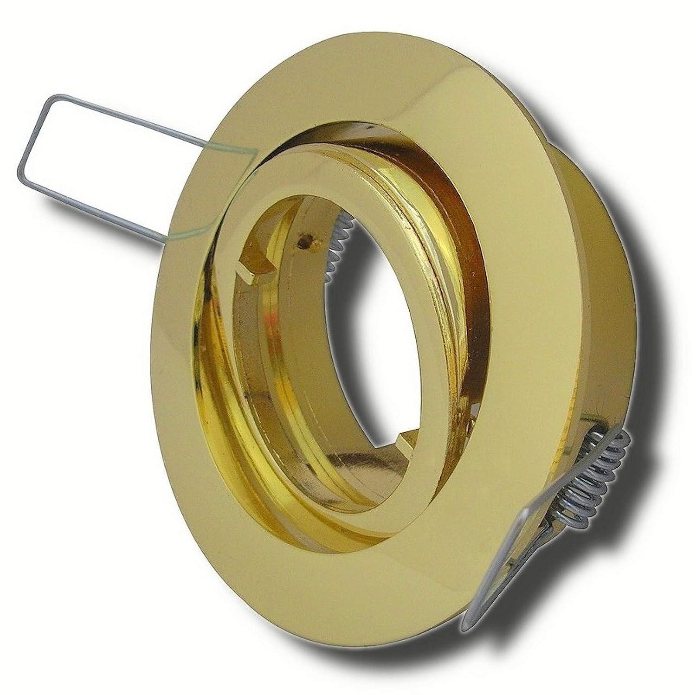 8 Stück Decken Einbaustrahler Laura 230 Volt Ohne Leuchtmittel Schwenkbar inkl. Stromfassung GU10 Gold