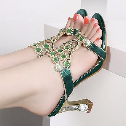 6ab300acafd GTVERNH Women S Shoes Diamond Female Cool Slippers 7Cm High Heel Summer  Word Diamond Rough Heel