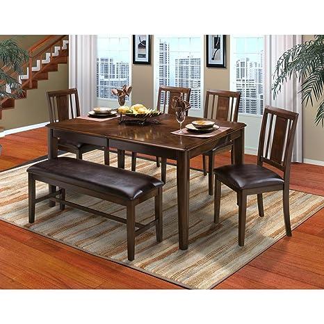 Amazon.com - Labelle 7 Piece Round Corner Dining Table & 6 ...