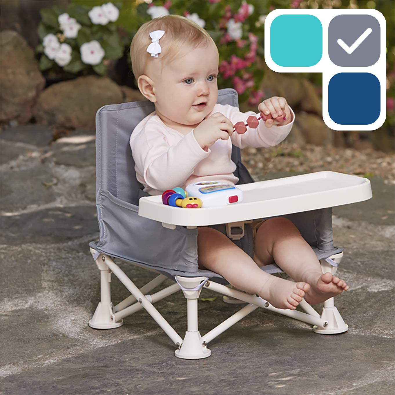 hiccapop Omniboost Travel Booster Seat with Tray for Baby | Folding Portable High Chair for Eating, Camping, Beach, Lawn, Grandma's | Tip-Free Design Straps to Kitchen Chairs - Go-Anywhere High Chair by hiccapop