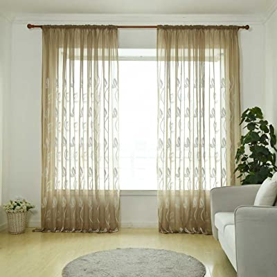 GOTTING Durable Transparent respirante Feuille brodé Rideau Tulle ...