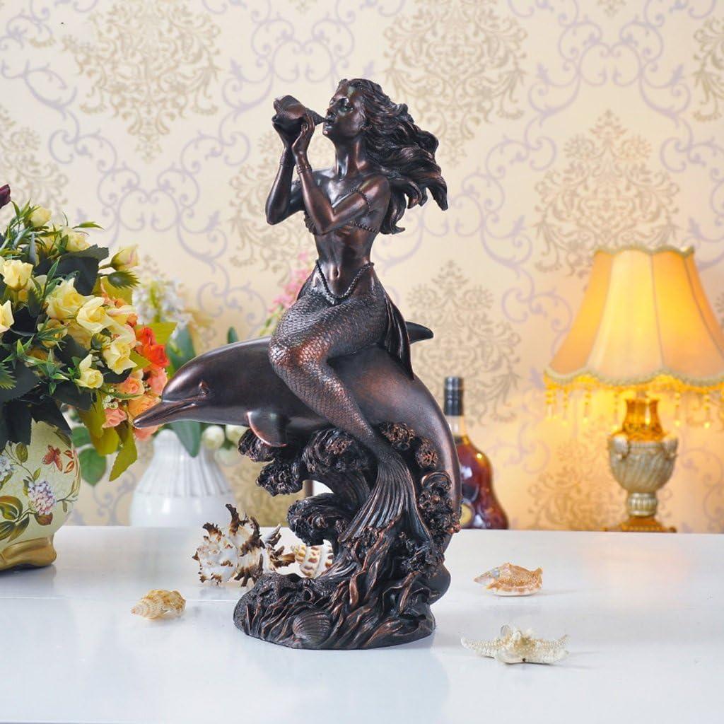 Ornamento de escultura de sirena, decoración creativa de resina para sala de estar, manualidades, 23 x 13 x 40 cm (color cian)