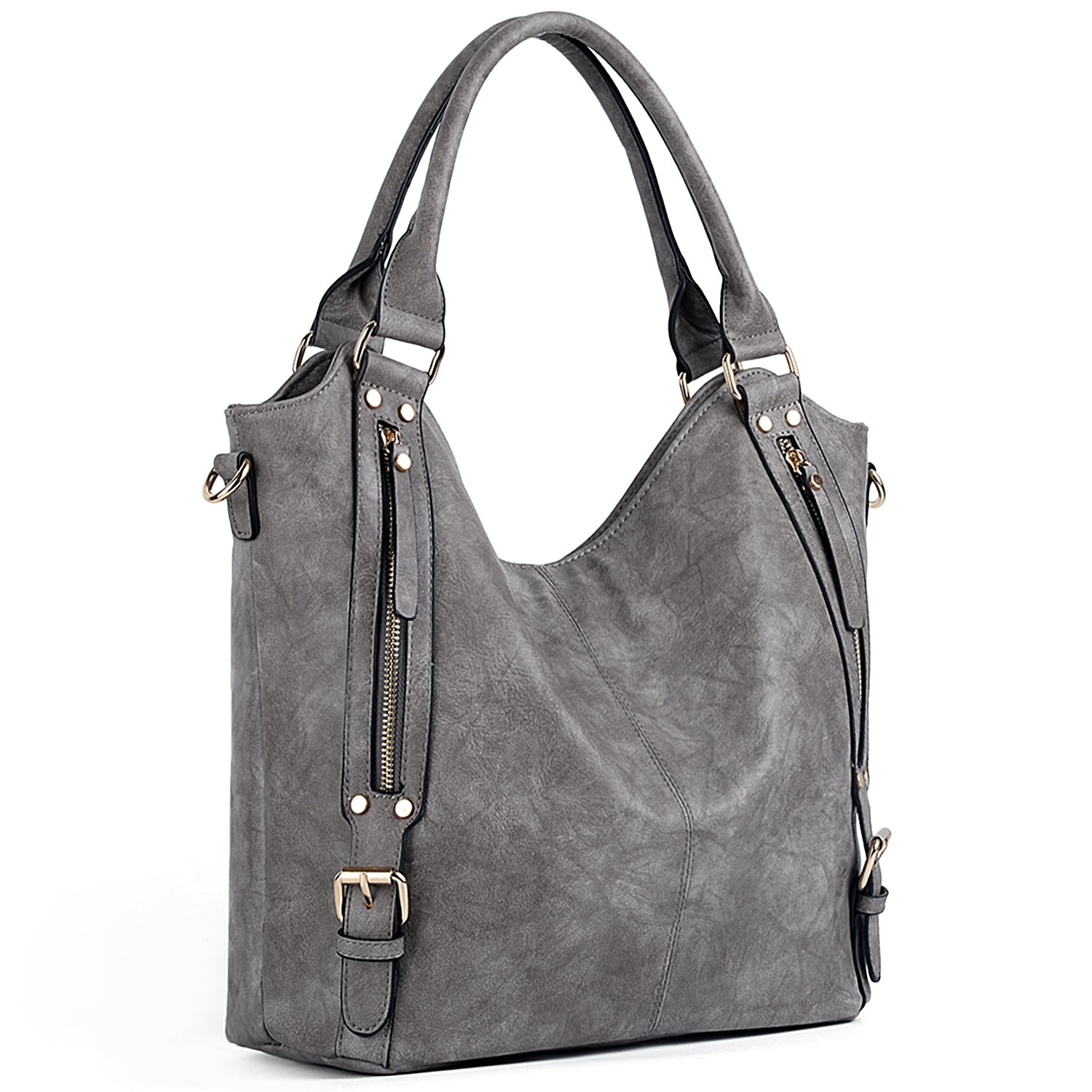 UTO Women Handbags Hobo Shoulder Bags Tote PU Leather Handbags Fashion Large Capacity Bags A Grey