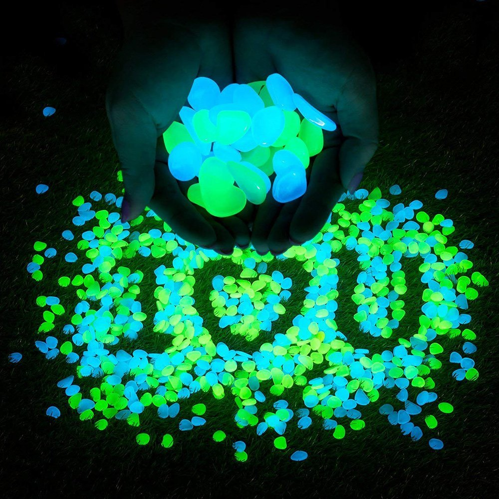 Sam4shine 200PCS Glow In the Dark Pebbles, Fish Tank Aquarium DIY Decorations Gravel, Outdoor Decorative Glow Rocks Stones for Fairy Garden, Path, Walkways