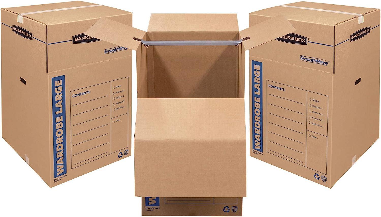 Bankers Box SmoothMove Wardrobe Box Large, 3 Pack (8811001),Brown