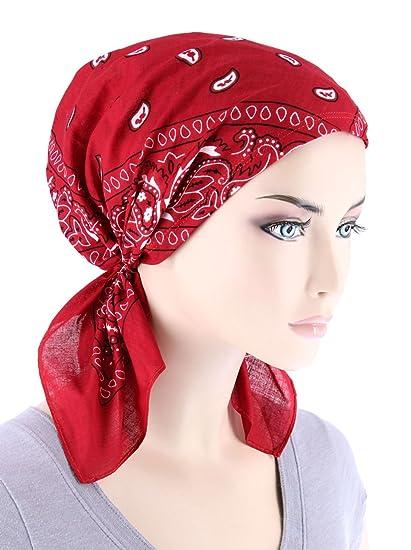 Paisley Bandana Scarf Pre Tied Cotton Chemo Hat Turban for Cancer ... 176eeacea33