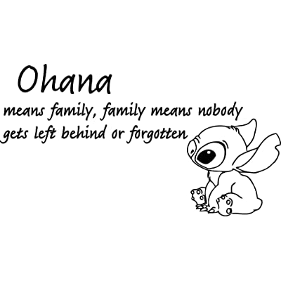"""Ohana Wall Decals Nursery- Ohana Means Family Wall Decal Quote Lilo and Stitch Vinyl Sticker Baby Kids Nursery Wall Art Home Decor 