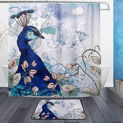 Amazon Com Lorvies Floral Peacock Bathroom Set Polyester Fabric