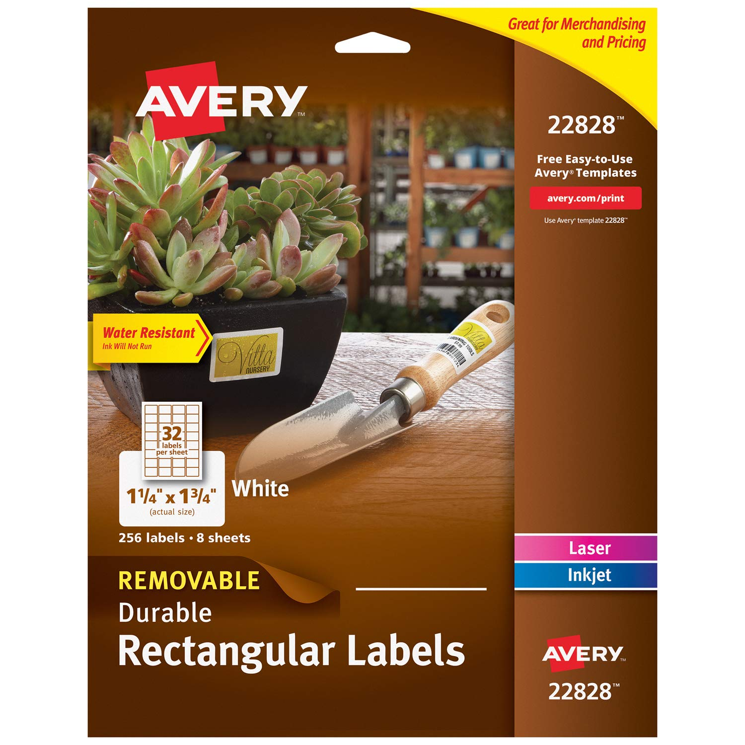 "Avery Removable Labels for Laser & Inkjet Printers, 1.25"" x 1.75"", 256 Water Resistant Labels (22828)"
