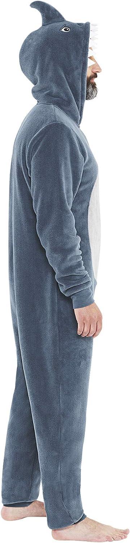 Just Essentials Mens Unisex Shark Fleece Onesie Hooded Jumpsuit All in One