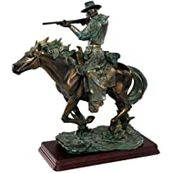 "12"" Cowboy on Horse Wild West Shooter Faux Bronze Table Desktop Sculpture Statue"