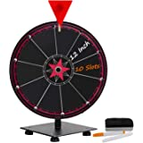 T-SIGN 12 Inch Heavy Duty Spinning Prize Wheel, 10 Slots Tabletop Prize Wheel Spinner, 2 Dry Erase Markers and 1 Eraser for Carnival and Trade Show, Win The Fortune Spin Game