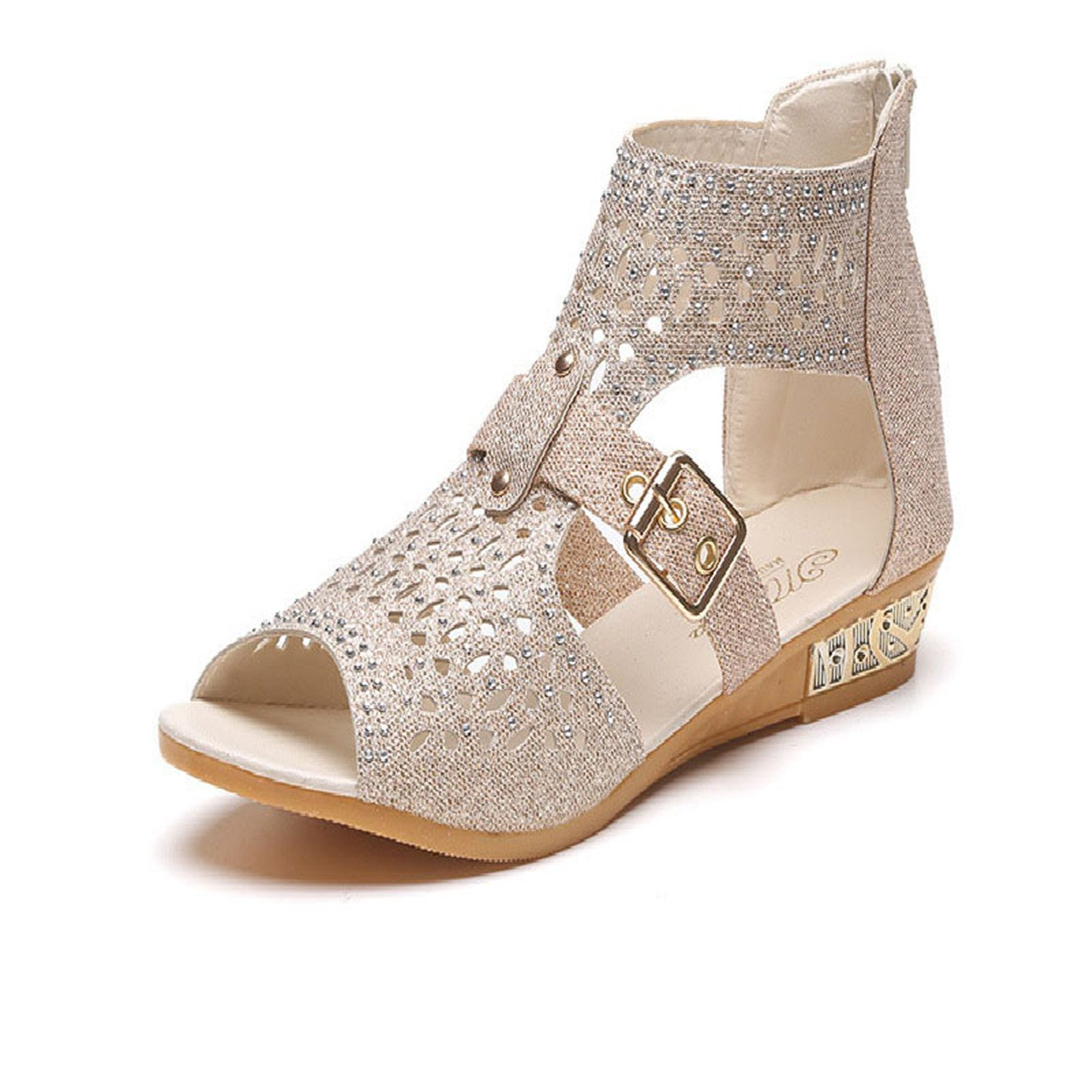 Amazon.com | Aworth Women High Heel Sandal Women Sandal Retro Wedges Gladiator Shoes Woman Shoes Hollow Leather Summer Casual Womens Sandals Gold 9 ...