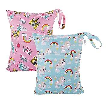 3 Sizes 5 Pcs Waterproof Reusable Wet Bag Diaper Baby Cloth Diaper Wet Dry Bags with 2 Zippered Pockets Travel Beach Pool Bag with Polar Bear Dinosaur Animal Alphabet Crocodile Pattern