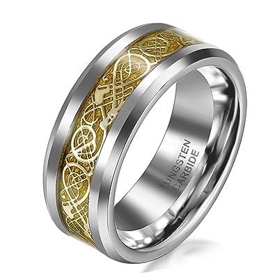 Jewelrywe Schmuck 8mm Breite Wolframcarbid Herren Ring Damen Ring