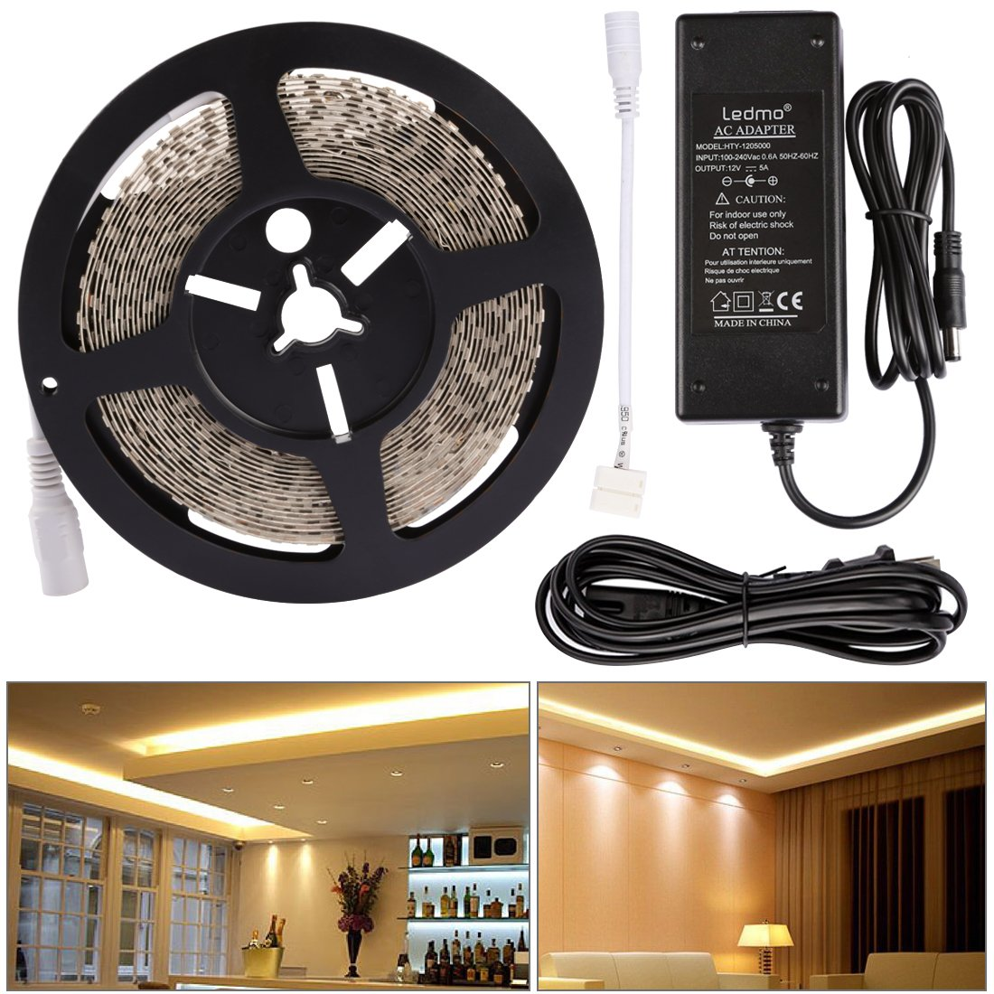 LEDMO LED Light Strip, 600 Units SMD2835 LEDs LED Tape, Warm White 3000K 16.4Ft LED Strip light+DC12V 5A Power Supply