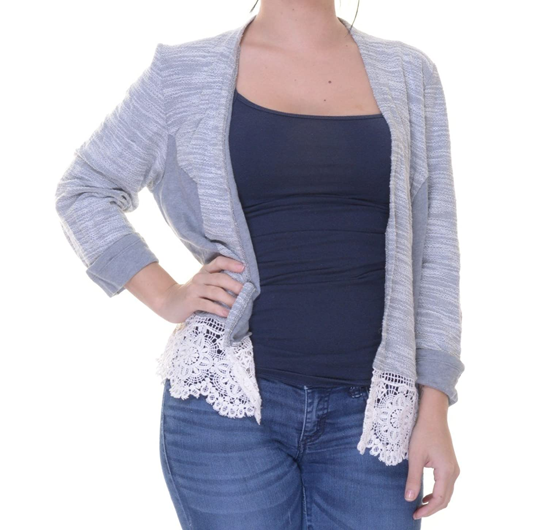 INC Womens Marled Lace Trim Cardigan Sweater