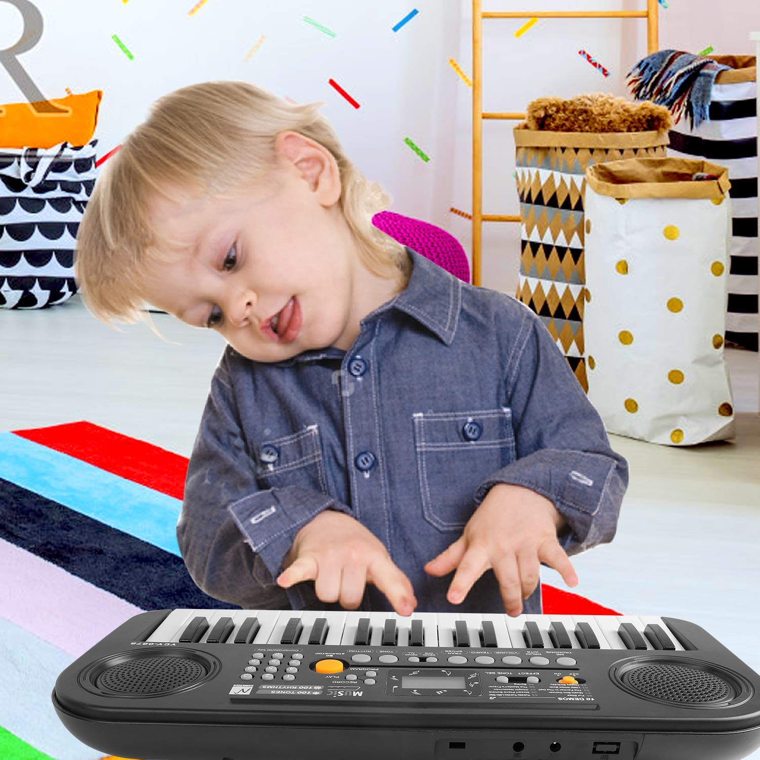 TWFRIC Kids Piano Keyboard, 37 Keys Dual-Speakers Piano for Kids LCD Screen Display Portable Keyboard 2019 Newest Piano Keyboards Music Educational Toy for Boys Girls Child (Black) by TWFRIC (Image #2)