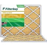 FilterBuy 20x25x1 Air Filter MERV 11, Pleated HVAC AC Furnace Filters (2-Pack, Gold)